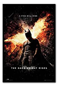 Batman Dark Knight Rises Fire Poster Black Framed - 96.5 x 66 cms (Approx 38 x 26 inches)