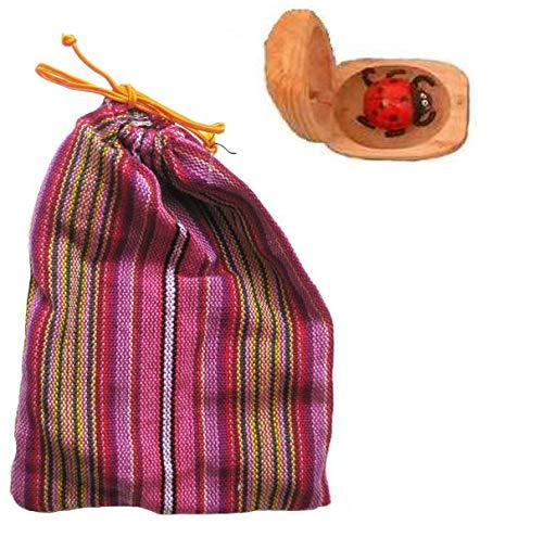 Kunsthandwerk Asien 1 Glückskäfer, Marienkäfer aus Holz, Glücksbringer mit Beutel, Stoffsäckchen in verschiedenen Farben