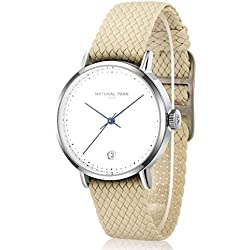 Women Dress Watches with White Dial Date Beige Nylon Strap