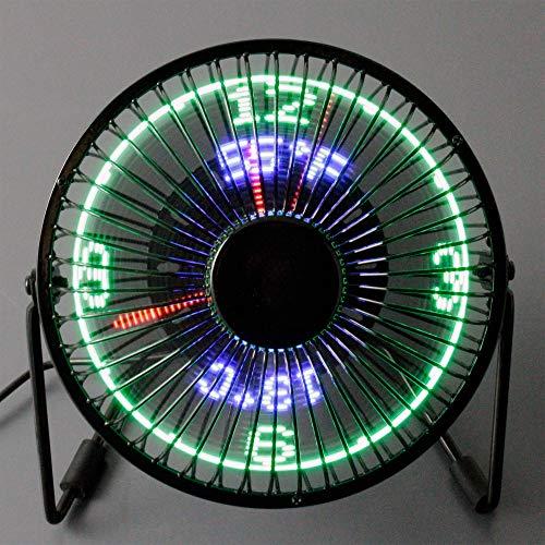 @tec Mini USB Tisch-Ventilator mit LED Anzeige für Analog Uhr & Temperatur, Schreibtisch-Ventilator, Fan, klein, leise, Lüfter für PC, Laptop, Notebook und Mac - Geschenk für Männer, Papa, Freund - Schreibtisch-uhr Mit Temperatur
