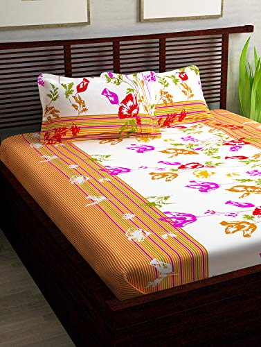 Story@Home 100% Cotton Bed Sheet for Double Bed with 2 Pillow Covers Set, Candy Queen Size Bedsheet Series, 120 TC, Floral Pattern, White