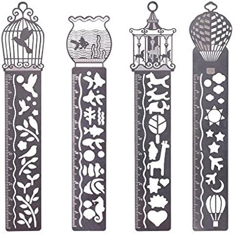 WOLFTEETH 4 x 10 cm Regla de metal / talladora / Señal linda Herramienta 3-en-1 para la Escuela 7384