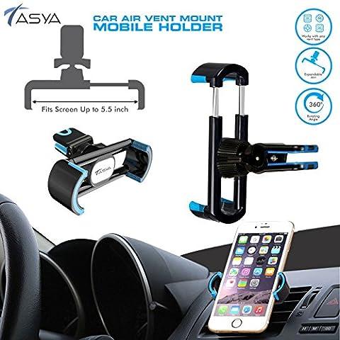 Cell Phone Holder Air Vent 360 Degree Car Holder car mount cradle for iPhone, Samsung, LG, Nexus, Motorola, Sony, HTC, Google, Windows & Other Smartphones - TASYA (BLACK) (BLUE)