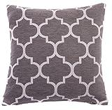 "Red Rainbow Grey & White 18"" Luxury Chenille Moroccan Design Geometric Cushion Cover"