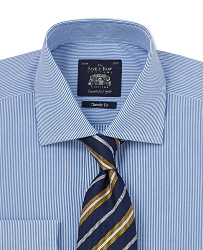 Savile Row Men's Navy Bengal Stripe Classic Fit Shirt - Double Cuff 16
