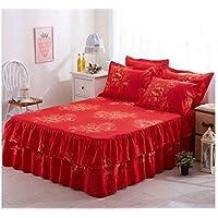 Giovanna Colcha Color Rojo Cubierta de Colchón Falda Edredón Ajustable Ropa de Cama 150x200cm - Bed