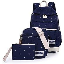 Minetom 3 Pezzi Plus Messenger Bag Frizione Tela Borsa A Zainetto Donna Spalla Zaini Femminili Scuola Superiore Zainetti Ragazze