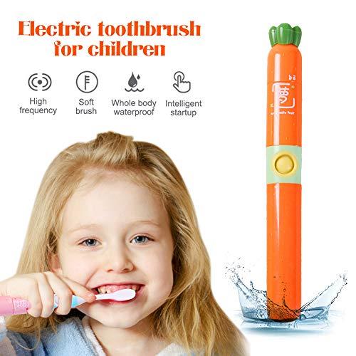 Elektrische Kinderzahnbürste,DryMartine Zahnbürste Kids Reise Tragbare Batterie Weiche Schallzahnbürste,2 Bürstenköpfe,Lieblings Cartoon Design des Kindes (Orange)