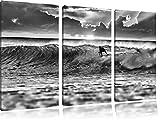 Monocrome, Surfen im Sonnenuntergang, Wellenreiten 3-Teiler Leinwandbild 120x80 Bild auf Leinwand, XXL riesige Bilder fertig gerahmt mit Keilrahmen, Kunstdruck auf Wandbild mit Rahmen, gänstiger als Gemälde oder Ölbild, kein Poster oder Plakat