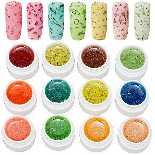 Anself gel nagellack uv Getrocknete Blumen 12 Farben Gelnägel Farben Nagellack Gel Nail Gel Für 3D Dekoration Acryl Nail Coloring Nagel-Design Blumen-gelee