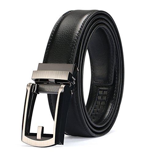 Charminer Cinturón para hombre, cinturón de piel sin hebilla, cierre automático, 125 cm de longitud, ajustable, color negro