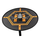 Kingwon Helicopter Safety Protection Landing Launching Pad 2 Side Use with Light Reflection Stripe RC Quadcopters Drone Take Off Landing Mat for DJI phantom 2 3 4 inspire 1 Mavic Pro, Foldable with a Travel Carry Bag,Black and Orange