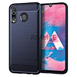 REALIKE Samsung M30 Back Cover, Carbon Fiber Full Shockproof Back Case for Samsung