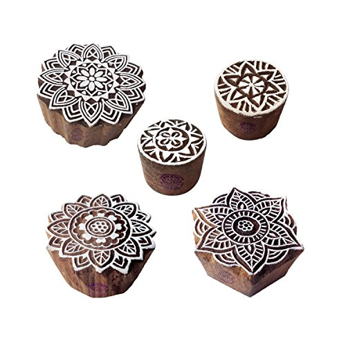 Royal Kraft Abstrakt Motif Mandala und Runden Holz Blöcke Stempel (Set von 5) - Holz Ton Block