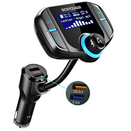 Transmetteur FM Bluetooth 4.2, ABOX Kit Main Libre sans Fil, Adaptateur Autoradio Chargeur USB Voiture Double Ports QC3.0 Écran LCD 1.7 Pouces , 3.5mm Port Audio, Carte SD MP3 Smartphone iPhone X 8 7...