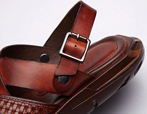 Mens Thick Soles Sandalen echtes Leder Wasser Schuhe für den Sommer Mode und bequem zu tragen vt16802 ginger yellow