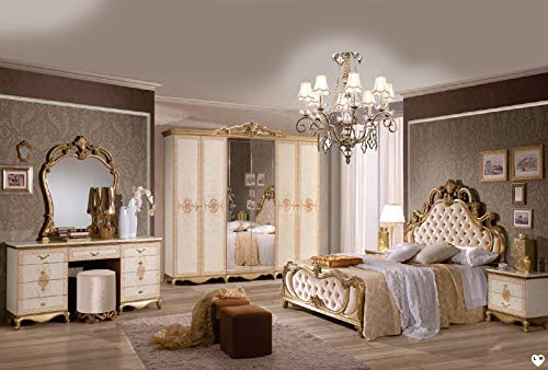 ITALIE FPM TALY Lacado en Marfil y Dorado, Dormitorio Barroco: Conjunto con Armario de 6 Puertas + Cama 160/200 + 2 mesitas de Noche + tocador, Espejo + puf