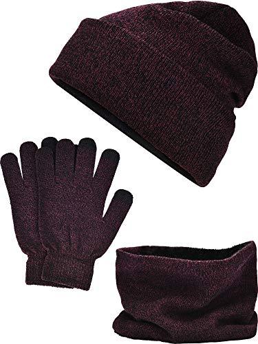 Tatuo Winter Warme Sets Enthält Mütze Schal Touchscreen Handschuhe, Insgesamt 3 Stück (Farbe 4) (Hut Handschuhe Und Damen-schal,)