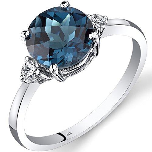 Revoni 14ct White Gold London Blue Topaz Diamond Ring 2.25 Carat Round Cut