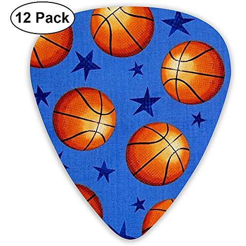 Star und Basketball Plektren 12er Pack - 3 verschiedene Größen, einschließlich dünn, mittel und schwer -