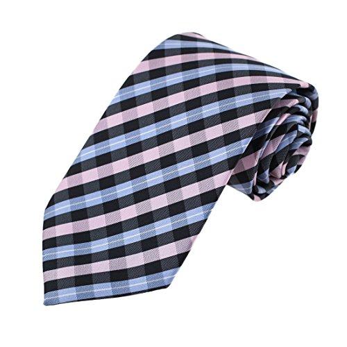Preisvergleich Produktbild EA-AEG-C.05 Männer Mikrofaser Karierte Kleid Dad Halsbindungen -3 Größen Optionen Von Epoint, EAAC0046-Rosa Blau Schwarz, S/M/L/XL