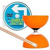 Diabolo Carrousel Orange a Roulement à Bille, avec Diablo Baguettes en Bois, Ficelle Pro et DVD !
