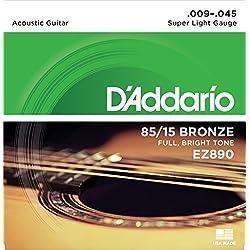 Kit de Cuerdas - D'Addario EZ890 - Guitarra Acústica - Bronce/Fósforo