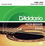#3: DAddario EZ890 Bronze Superlight Acoustic Guitar Strings