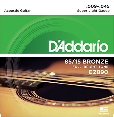 D'Addario EZ890 - Juego de cuerdas para guitarra acústica de bronce, 009' - 045'