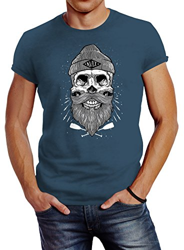 Neverless Herren T-Shirt Captain Skull Beard Totenkopf Bart Kapitän Slim Fit Denim Blue