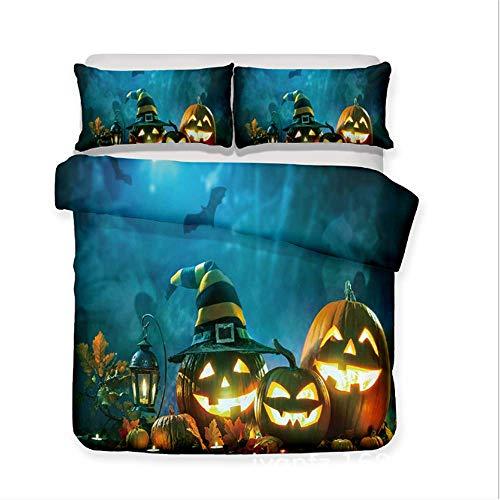 SHJIA 3D Halloween Kürbis Bettwäsche-Sets Bettbezug-Set mit Kissenbezügen Kids Adult All Saints Day Geschenk A 229x259cm
