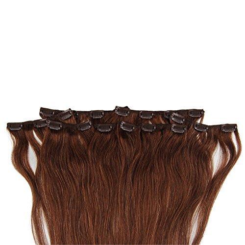 Beauty7 120g Extensions de Cheveux 8 Clips Humains à Clip 100% Remy Hair Haute Qualité #4 Couleur Chocolate Marron Longueur 60 cm