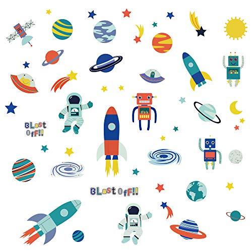 decalmile Pegatinas de Pared Planetas Vinilos Decorativos Espaciales Nave Espacial Robot Astronauta Adhesivos Pared Guardería Habitación Infantiles Niños Bebés Dormitorio