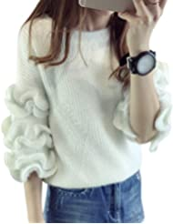 YOUJIA Femmes Dentelle Manches Chandails Col Rond Sweater Chaud Pulls Élégant Tops Tricots Mohair Pullover Hiver