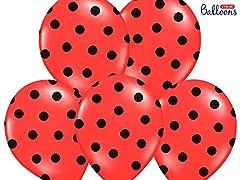 Idea Regalo - 12 PALLONCINI lattice 30 cm ROSSO POIS NERI decorazione compleanno