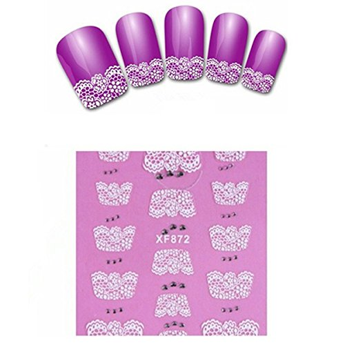 Nail Art Stickers Francais XF872 - TOOGOO(R)Nouveau 3D dentelle design Nail Art Stickers pour Femmes Mode manucure Vernis a ongles Stickers maquillage des ongles-XF872
