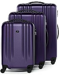 FERGÉ® ensemble de 3 valise Marseille - ABS set trolley trois rigide léger grand - bagages à main 4 roulettes 360 degrés cabine Air France, EasyJet... homme et femme