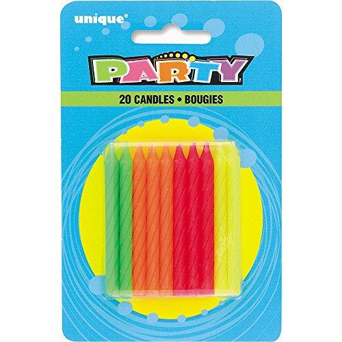 Unique Party Supplies NEON Spirale Geburtstag Kerzen, Sortiert, 20Stück