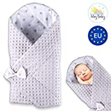 Gigoteuse d'emmaillotage bébé couverture d'hiver - Nid Réversible universelle, en polyester Minky et coton pour Garçon et Fille pour poussette (gris)