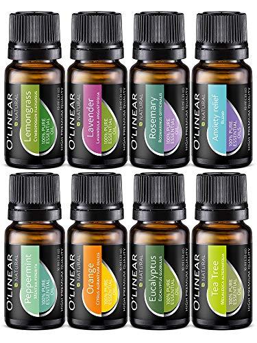 Ätherische Öle Set (8x10ml) - Essential Oil für Aromatherapie - Duftöl für Diffuser - 100{7e06b89f974e1834b8cc8f2cce9d42af94fb8dc979e6ac639c2f428015f69c81} Rein Öle - Lavendel, Pfefferminz, Rosmarin, Orange, Teebaum, Eukalyptus, Zitronengras, Anti-Stress Öl