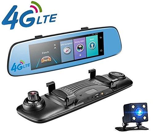 yuyitec 4G COCHE DVR 7.84pulgadas Adas mando a distancia táctil Monitor espejo retrovisor cámara con Android WiFi de doble lente 1080P dashcam en tiempo real GPS Navigator Tracker historia