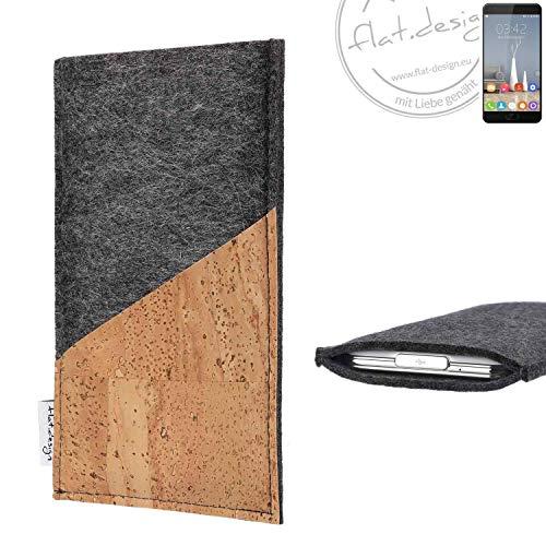 flat.design Handy Hülle Evora für Oukitel K6000 Plus handgefertigte Handytasche Kork Filz Tasche Case fair dunkelgrau