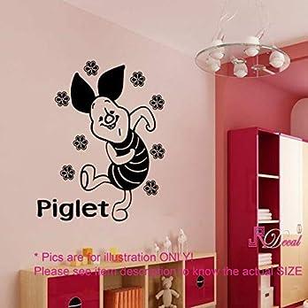 Disney Winnie the Pooh PIGLET personalisierte Namen entfernbare Wandaufkleber Wandkunst Aufkleber Vinyl Kinderzimmer Dekor