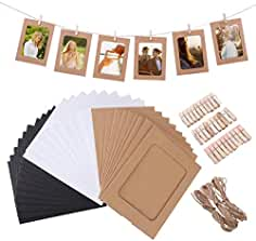VORCOOL 30pcs Marco de Foto de Papel Decoración de pared con Cuerda y Clip Bordes de