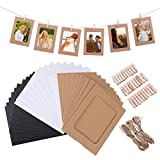 VORCOOL 30pcs Marco de Foto de Papel Decoración de pared con Cuerda y Clip Bordes de Decoración Marco de Papel para 4x6in Fotos