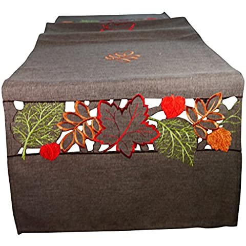 Khevga - Camino de mesa, 40 x 150 cm, diseño de otoño, color marrón
