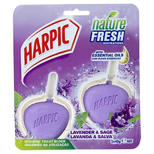 Harpic Active Fresh Gel de nettoyage hygiénique 2 x 40 g – Lavande, Lot de 6 (Total 12 blocs)
