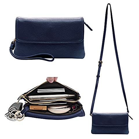 Befen Womens Leather Wristlet Clutch Crossbody Cell Phone Wallet, Mini Cross Body Bag with Shoulder Strap / Wrist Strap/Card Slots for iPhone 6S Plus/Samsung Note 5 – Navy Blue