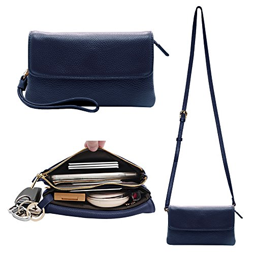 Befen Womens Leather Wristlet Clutch Crossbody Cell Phone Wallet, Mini Cross Body Bag with Shoulder Strap / Wrist Strap/Card Slots for iPhone 6S Plus/Samsung Note 5 – Blau (Purse Bag Strap)