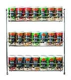 Ostmann Chrom-Gewürzregal gefüllt mit 21 Gewürzdosen Kräuter-Regal-Set Gewürz-Ständer, mit 21 feinen...